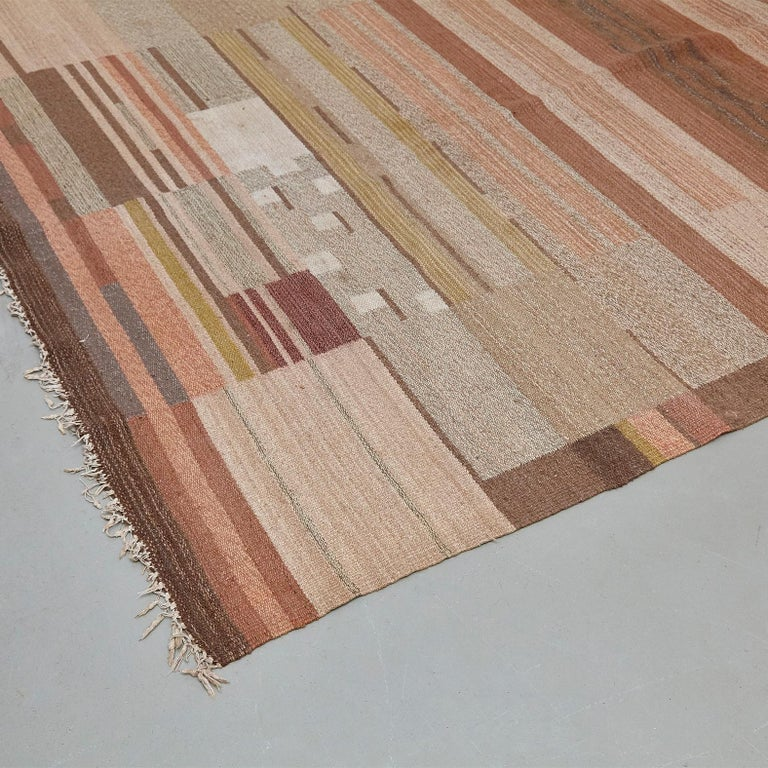 Laila Karttunen Finnish Flat-Weave Carpet for Kiikan Mattokutomo, 1930s For Sale 1