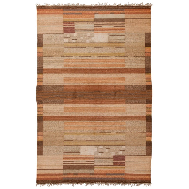 Laila Karttunen Finnish Flat-Weave Carpet for Kiikan Mattokutomo, 1930s For Sale