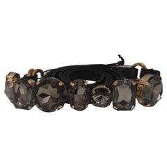 Laino Gold tone hardware black swarovski stones black leather belt NWOT