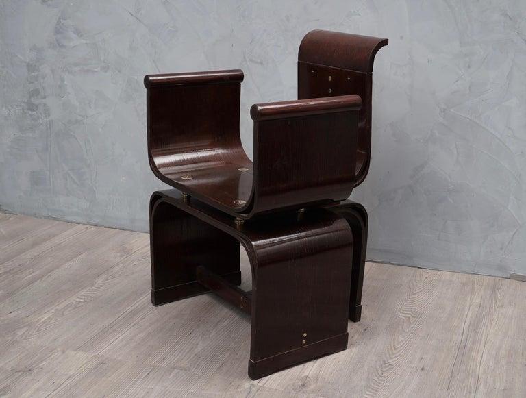 Art Nouveau Lajos Kozma Jugendstil Ash Wood and Brass Hungarian Chairs, 1910 For Sale