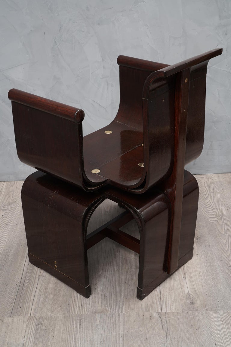 Lajos Kozma Jugendstil Ash Wood and Brass Hungarian Chairs, 1910 In Excellent Condition For Sale In Rome, IT