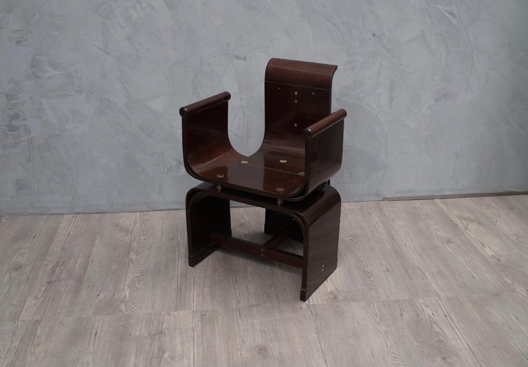 Lajos Kozma Jugendstil Ash Wood and Brass Hungarian Chairs, 1910 For Sale 1