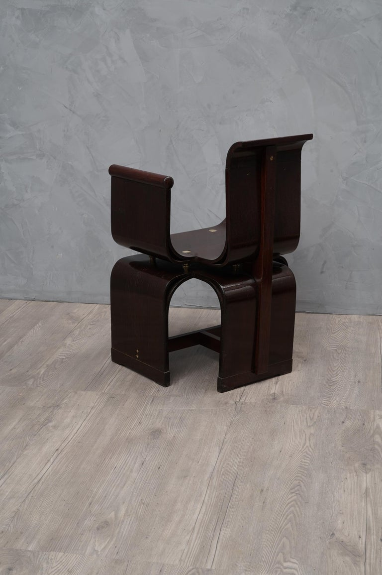 Lajos Kozma Jugendstil Ash Wood and Brass Hungarian Chairs, 1910 For Sale 2