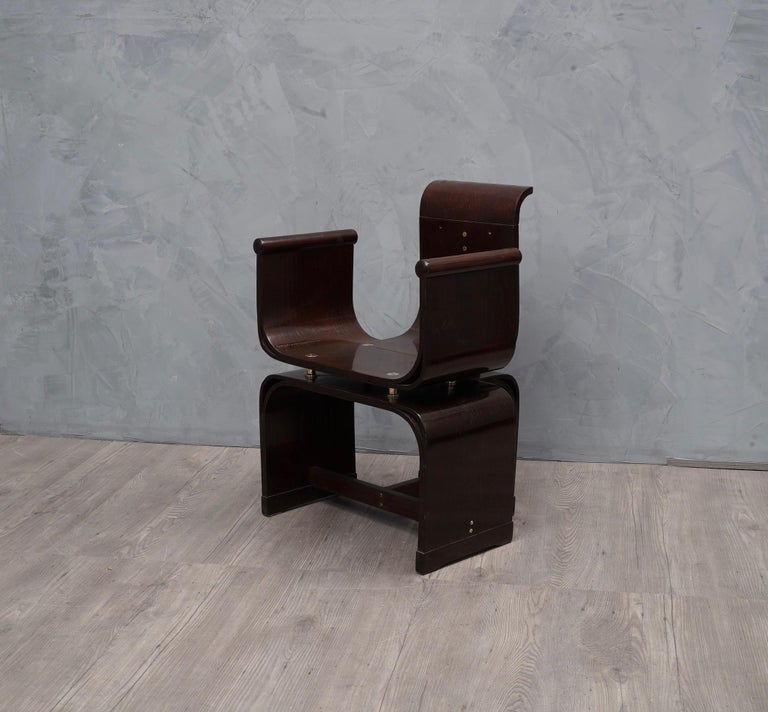 Lajos Kozma Jugendstil Ash Wood and Brass Hungarian Chairs, 1910 For Sale 4