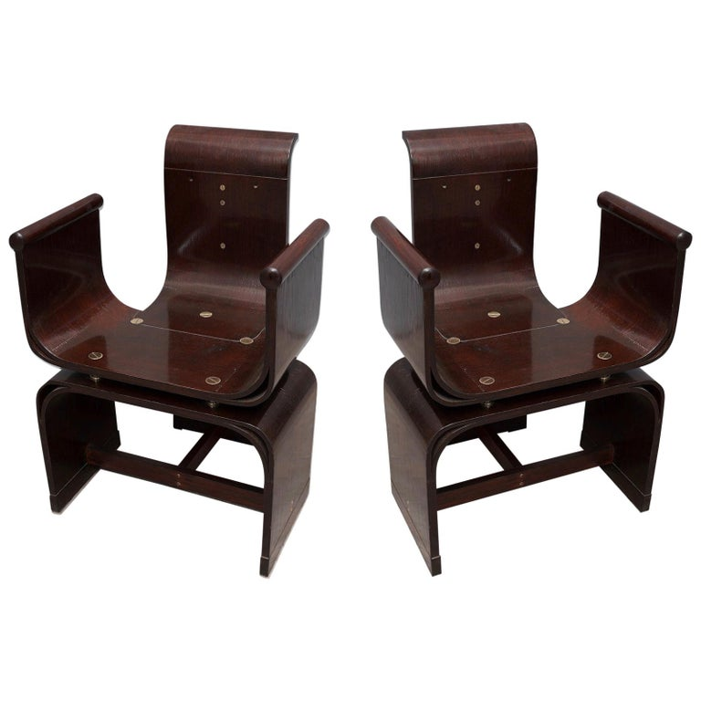 Lajos Kozma Jugendstil Ash Wood and Brass Hungarian Chairs, 1910 For Sale