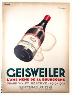 """""""Geisweiler"""" Original Vintage Wine Poster 1930s"""