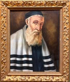 Rare Hungarian Jewish Rabbi Judaica Oil Painting Portrait