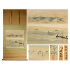 Lake Awasaru Scene Meiji Period Scroll Japan 19c Artist Marked Nihonga Style