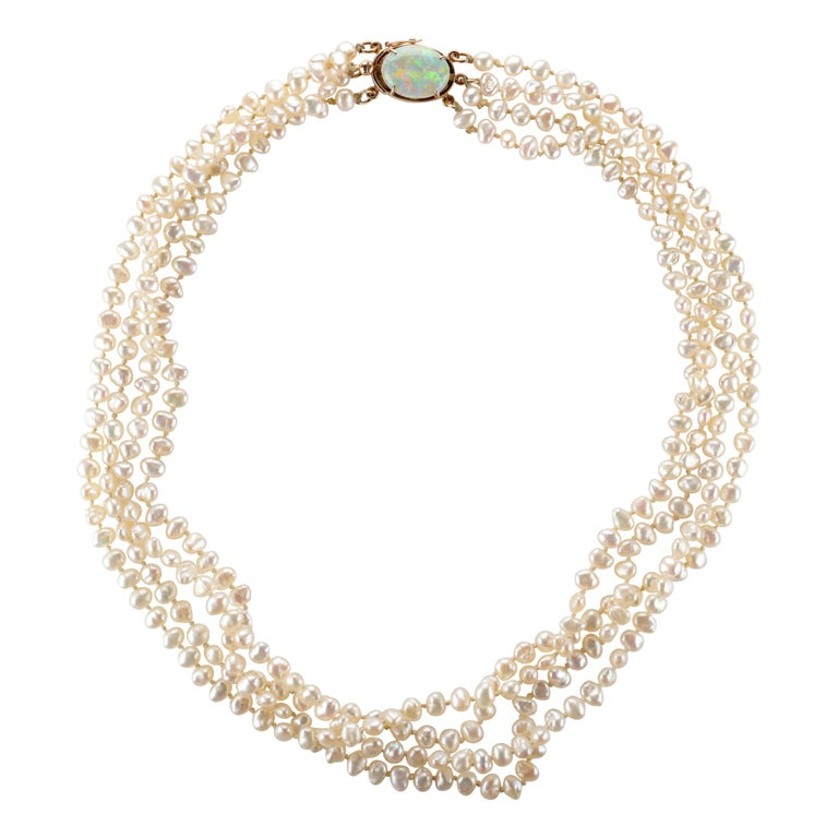 Gump's Pearl and Opal Necklace Features Rare & Authentic Biwa Pearls For Sale