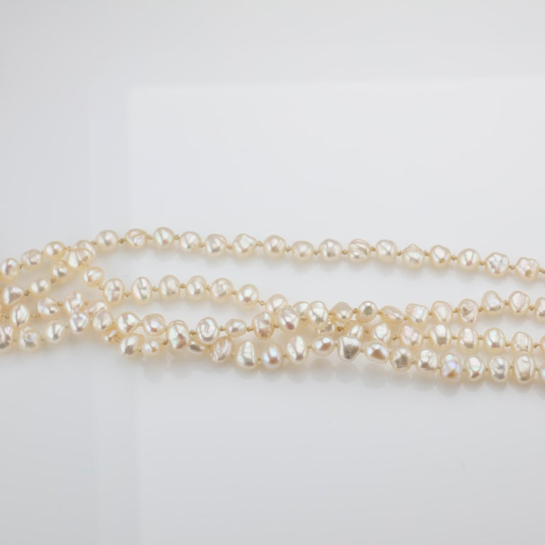 Gump's Pearl and Opal Necklace Features Rare & Authentic Biwa Pearls For Sale 6
