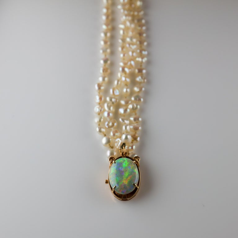 Gump's Pearl and Opal Necklace Features Rare & Authentic Biwa Pearls For Sale 8