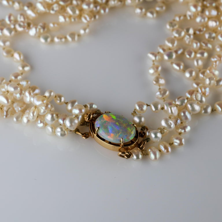Gump's Pearl and Opal Necklace Features Rare & Authentic Biwa Pearls For Sale 10