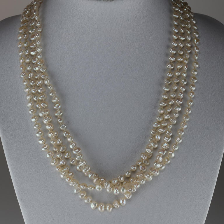 Gump's Pearl and Opal Necklace Features Rare & Authentic Biwa Pearls For Sale 11
