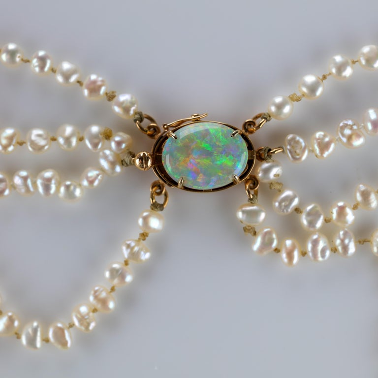 Gump's Pearl and Opal Necklace Features Rare & Authentic Biwa Pearls For Sale 12