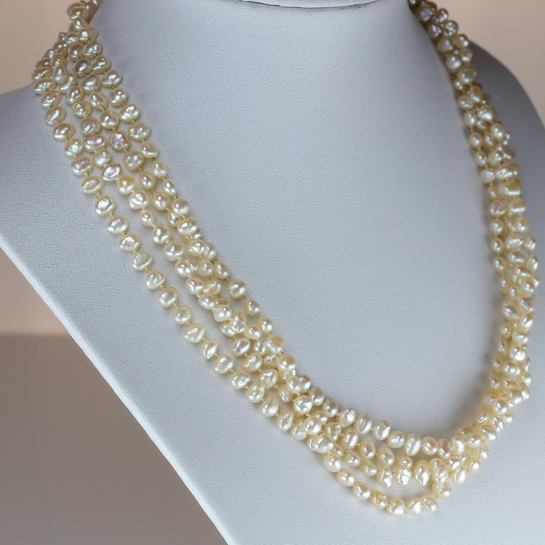 Modern Gump's Pearl and Opal Necklace Features Rare & Authentic Biwa Pearls For Sale
