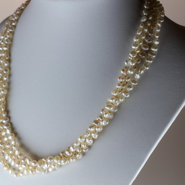 Gump's Pearl and Opal Necklace Features Rare & Authentic Biwa Pearls In Excellent Condition For Sale In Southbury, CT