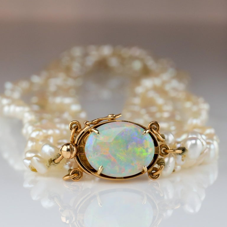 Women's Gump's Pearl and Opal Necklace Features Rare & Authentic Biwa Pearls For Sale
