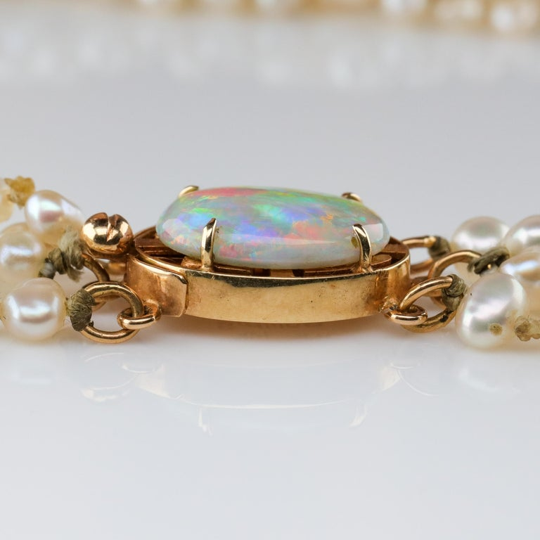 Gump's Pearl and Opal Necklace Features Rare & Authentic Biwa Pearls For Sale 1