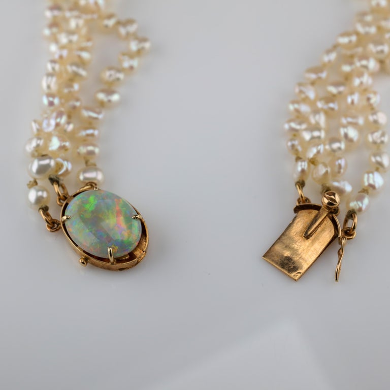 Gump's Pearl and Opal Necklace Features Rare & Authentic Biwa Pearls For Sale 2