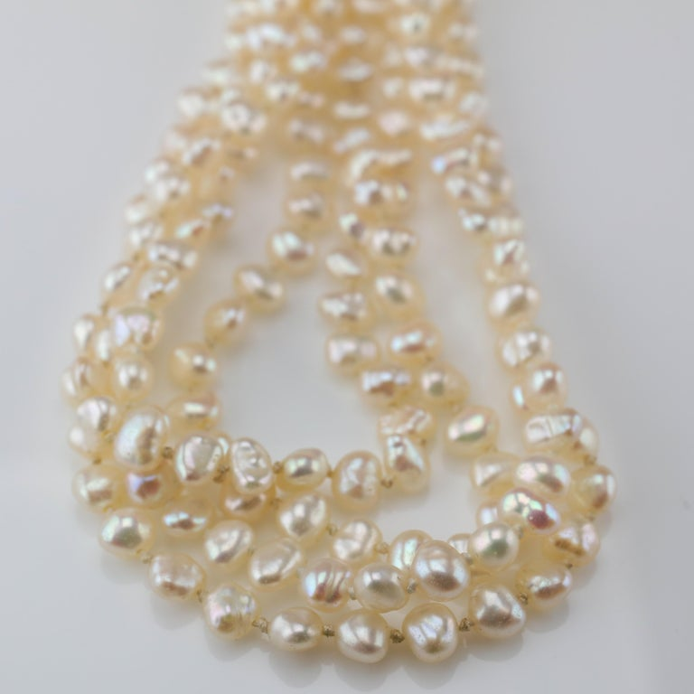 Gump's Pearl and Opal Necklace Features Rare & Authentic Biwa Pearls For Sale 4