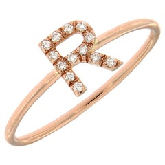 LAKE Customizable Diamond Initials Ring for Her 18 Karat Gold Made in Italy