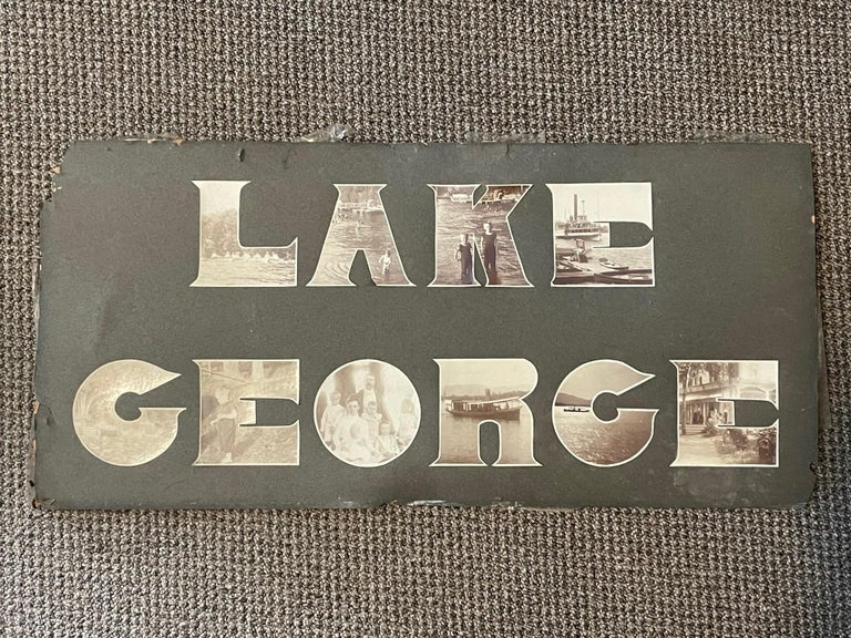 An unusual photograph, circa 1910-1920 where the letters Lake George are made of cutout photographs. Original frame-really a unique object with character and timeless character. Lake George, known as the Queen of American Lakes, is in upstate New