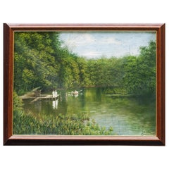 Lake Landscape Painting on Canvas signed by Rudolf Swoboda the Younger