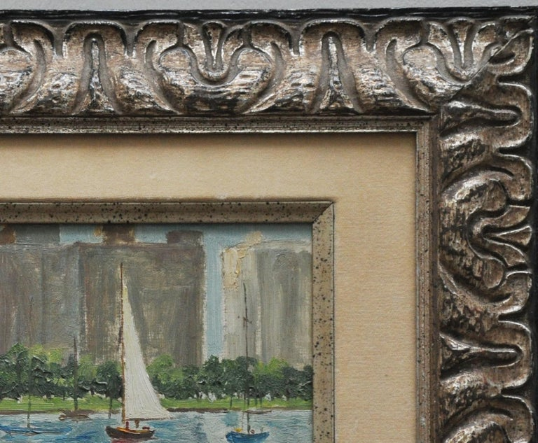 Exquisitely framed with linen and gold fillet oil on canvas Actual work is 71/2