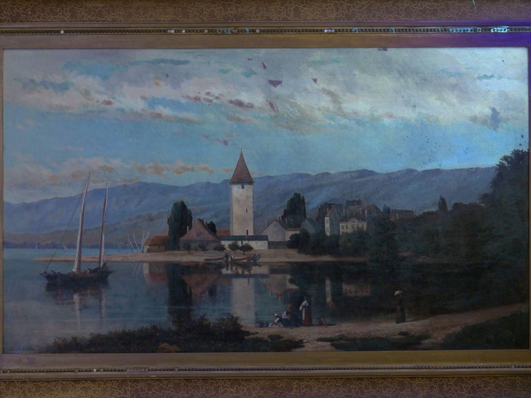 """""""Lakeview"""" '1868' American Landscape Painting by Frank Henry Shapleigh For Sale 8"""