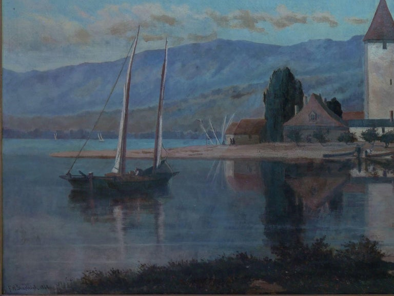 """""""Lakeview"""" '1868' American Landscape Painting by Frank Henry Shapleigh For Sale 11"""