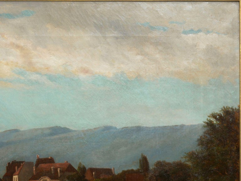"""Barbizon School """"Lakeview"""" '1868' American Landscape Painting by Frank Henry Shapleigh For Sale"""