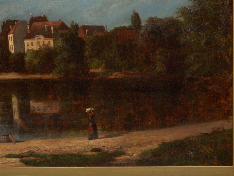 """Oiled """"Lakeview"""" '1868' American Landscape Painting by Frank Henry Shapleigh For Sale"""