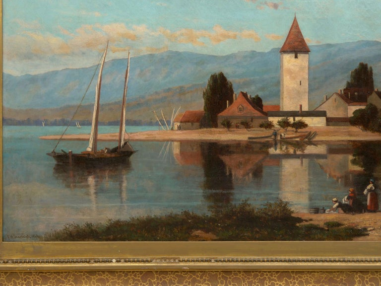"""""""Lakeview"""" '1868' American Landscape Painting by Frank Henry Shapleigh In Good Condition For Sale In Shippensburg, PA"""