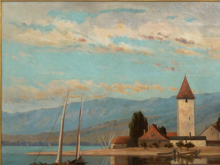 """19th Century """"Lakeview"""" '1868' American Landscape Painting by Frank Henry Shapleigh For Sale"""