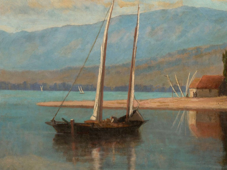 """""""Lakeview"""" '1868' American Landscape Painting by Frank Henry Shapleigh For Sale 1"""