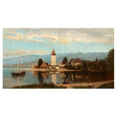 """""""Lakeview"""" '1868' American Landscape Painting by Frank Henry Shapleigh"""