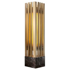 Lakmos Contemporary Handcrafted Table Lamp in Brass and Marble