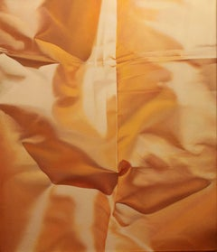 Yellow Five, Vertical Oil Painting, Luxurious Draped Golden Yellow Silk Fabric
