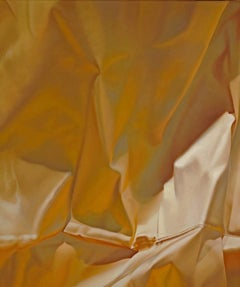 Yellow Four, Vertical Oil Painting, Luxurious Draped Golden Yellow Silk Fabric