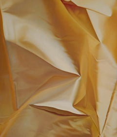 Yellow Series Number Three, Vertical Oil Painting of Golden Yellow Orange Fabric