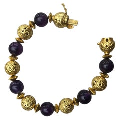 Lalaounis 18 Carat Gold and Amethyst Bead Bracelet