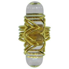 Lalaounis 18 Carat Yellow Gold and Rock Crystal Panel Ring