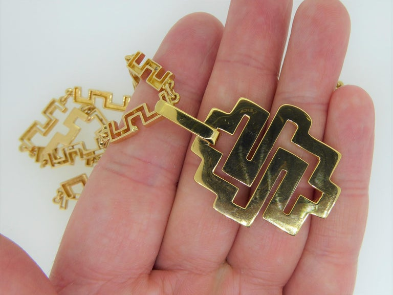 Lalaounis 18 Carat Yellow Gold Geometric Link Labyrinth Pendant Necklace In Good Condition For Sale In London, GB