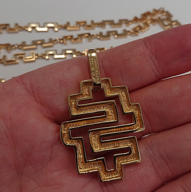 Women's Lalaounis 18 Carat Yellow Gold Geometric Link Labyrinth Pendant Necklace For Sale