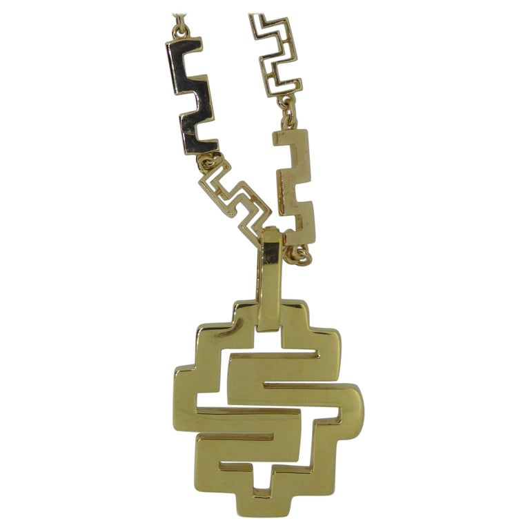 Lalaounis 18 Carat Yellow Gold Geometric Link Labyrinth Pendant Necklace For Sale
