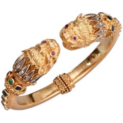 Lalaounis 18 Karat Gold Diamond Ruby Emerald Bangle Bracelet