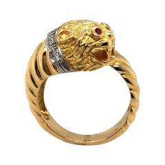 Lalaounis 18 Karat Gold Ruby and Diamond Chimera Ring