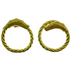 Lalaounis 18 Karat Yellow Gold Dragon Clip-On Hoop Earrings Vintage Greek Made