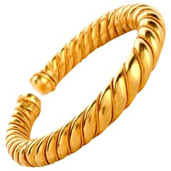 Lalaounis 18 Karat Yellow Gold Twisted Cuff Bangle Bracelet