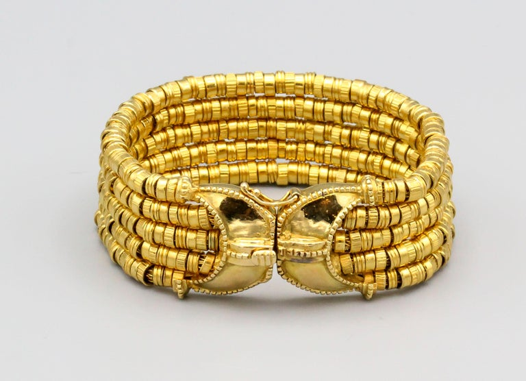 Lalaounis 18 Karat Gold 5 Strand Bracelet In Good Condition For Sale In New York, NY